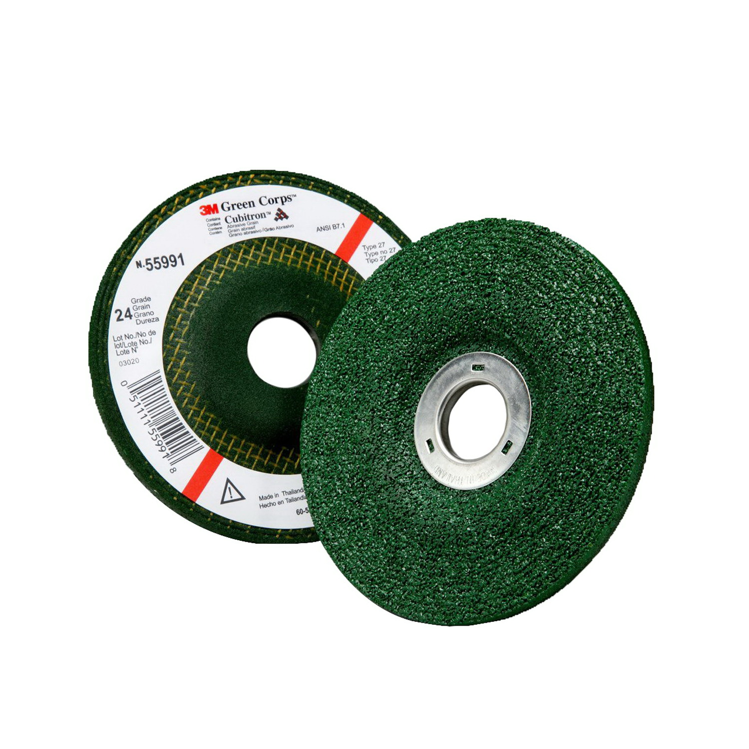 Grade 24 3M Green Corps Grinding Disc 5 in x 7//8 in